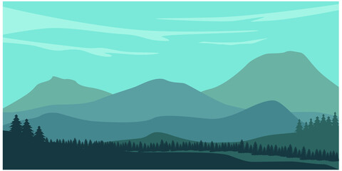 Mountain landscape with silhouettes of forest trees mountains and hills. Panoramic mountain view.