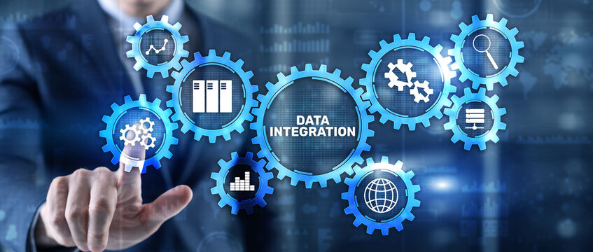 Data integration business internet technology concept. Mixed media