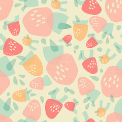 Strawberries made from geometric shapes. Vintage summer seamless pattern in pastel colors.
