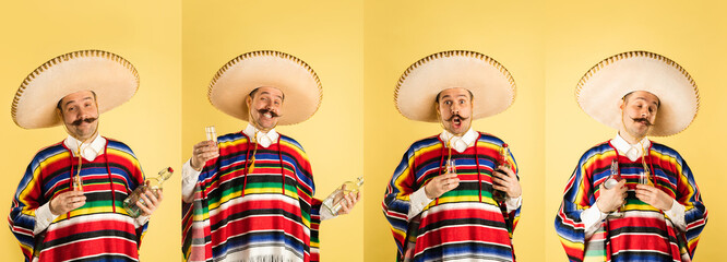 Collage of 4 portraits of young man in ethnical mexican clothes with bottle fo tequila isolated...