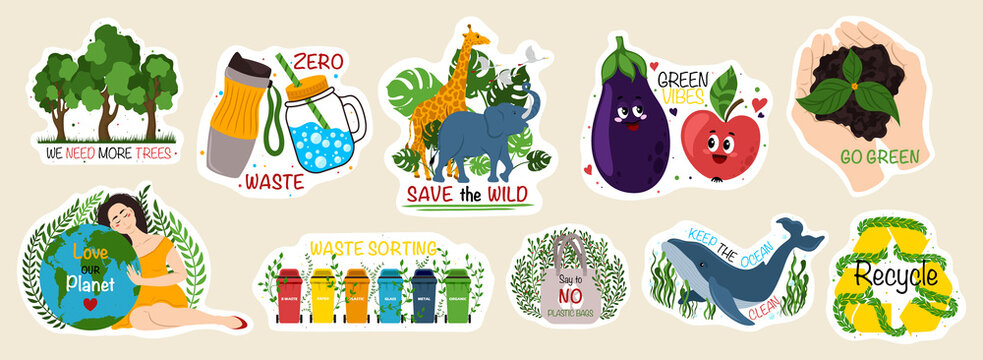 Collection of ecology stickers with slogans - zero waste, recycle, go green, love our planet, we need more trees. Bundle of bright vector design elements.