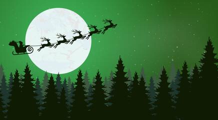 Obraz Santa Claus with reindeer fly high - fototapety do salonu
