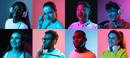 Collage of portraits of young men and women isolated over multicolored backgrounds in neon lights.
