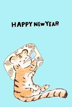 寅年の年賀状、水色背景のはがきサイズのイラスト素材、英語