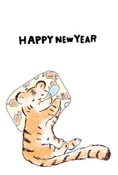 寅年の年賀状、白背景のはがきサイズのイラスト素材、英語
