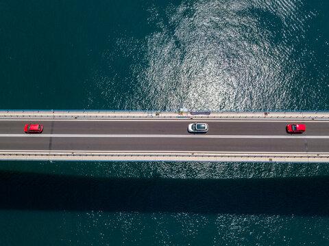 Aerial view of Sibenski Most, croatian bridge. Road and cars. 07-02-2018. Sibenski, Croatia. Central Dalmatia, where the river Krka flows into the Adriatic Sea