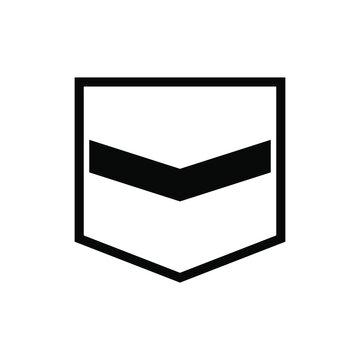 ikon lencana pangkat militer dalam gaya datar yang trendi.