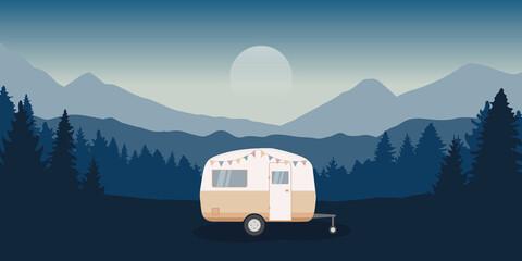 Obraz wanderlust camping adventure in the wilderness with camper - fototapety do salonu