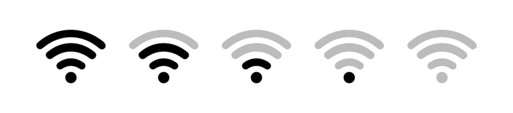 Wi-Fi wireless signal icon set. Different levels of communication. Wi-Fi button. Vector illustration.