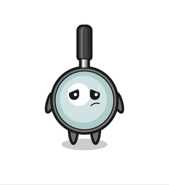 the lazy gesture of magnifying glass cartoon character