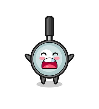 cute magnifying glass mascot with a yawn expression
