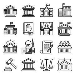 Fototapeta Courthouse icons set. Outline set of courthouse vector icons for web design isolated on white background obraz