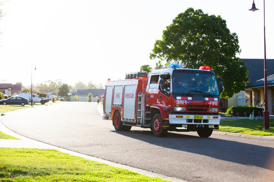 Fire rescue truck in suburban area of town at Christmas time