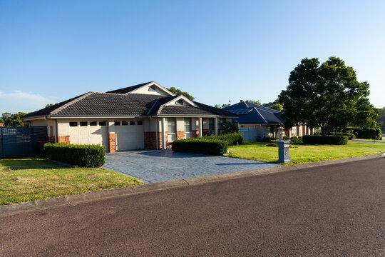 Neat Australian house in morning sunlight
