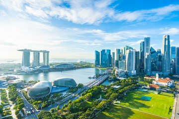Fototapeta Beautiful architecture building exterior cityscape in Singapore city skyline obraz