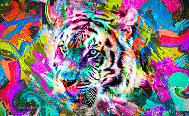 tiger head illustration color art