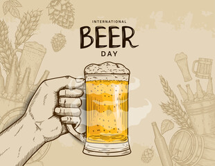 Fototapeta International Beer Day illustration vector design with hand drawn element isolated on soft brown background can be use for party, celebration and festival obraz