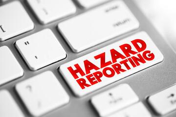 Fototapeta Hazard Reporting text button on keyboard, concept background obraz
