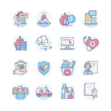 Disaster Relief - line design style icon set