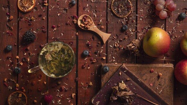 Herbal tea steeping. Cozy home presentation