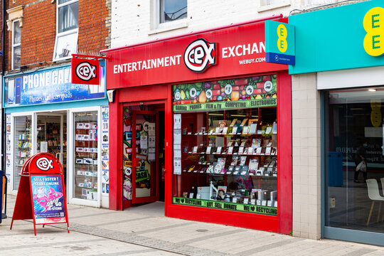 Felixstowe Suffolk UK May 27 2021: Exterior view of the second hand entertainment and trade in store CEX in Felixstowe town centre