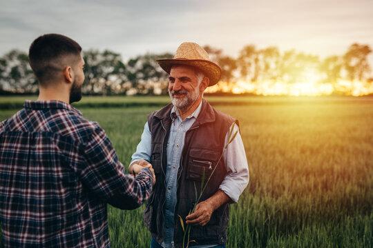 farmers handshake outdoor in field