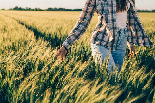 woman walking through wheat filed