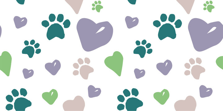 seamless doodle pattern with dog footprints, hearts, lettering of the word dog, lettering of the word woof
