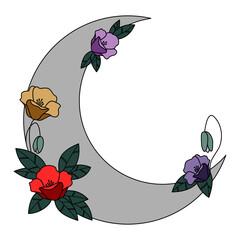 Półksiężyc i kwiaty w subtelnych kolorach - dekoracyjna boho ilustracja z miejscem na Twój tekst do wykorzystania jako logo, tatuaż, zaproszenie ślubne, kartka z życzeniami, naklejka.