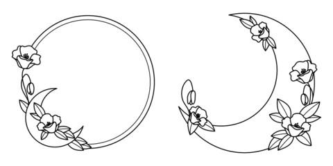 Fototapeta Szablony ramek z wzorem roślinnym i z półksiężycami w prostym nowoczesnym stylu z listkami - zaproszenia ślubne, tło dla social media stories. obraz
