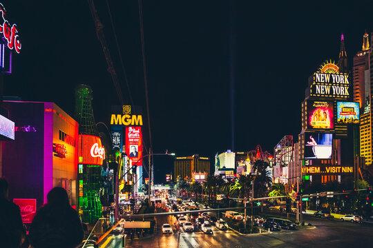 Las Vegas, USA - January 12, 2020: Aerial view of Las Vegas Strip.