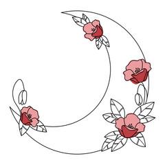Półksiężyc i czerwone kwiaty malowane akwarelą - dekoracyjna boho ilustracja z miejscem na Twój tekst do wykorzystania jako logo, tatuaż, zaproszenie ślubne, kartka z życzeniami, naklejka.