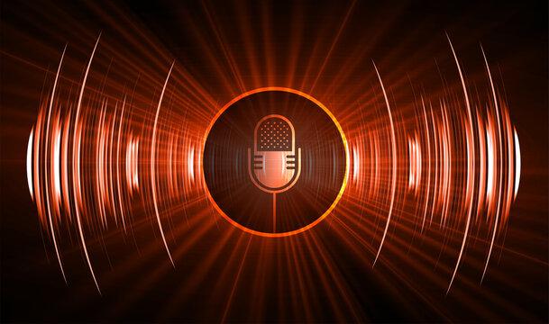 Sound waves oscillating dark light, microphone