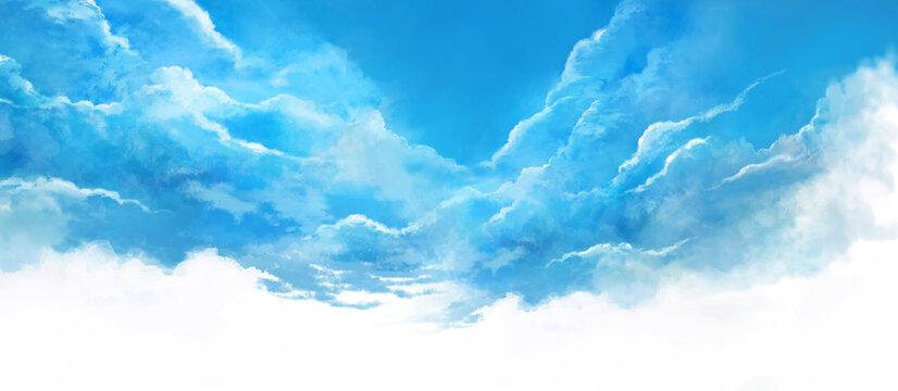 夏空の風景イラスト(青)