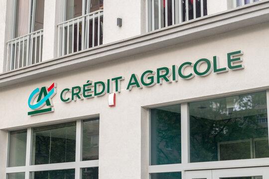 Legnica, Poland - June 1, 2021: Logo and sign of Credit Agricole Bank Polska.