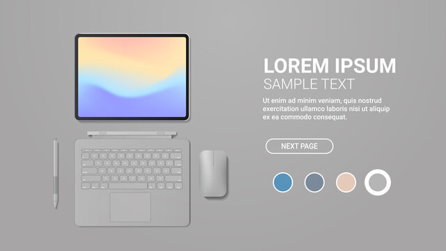 modern tablet computer with keyboard mouse pen and colored screen realistic mockup gadgets and devices