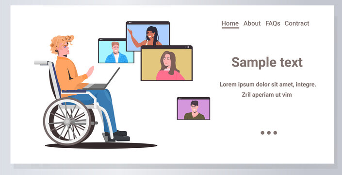 disabled woman wheelchair chatting with friends in web browser windows during video call online meeting