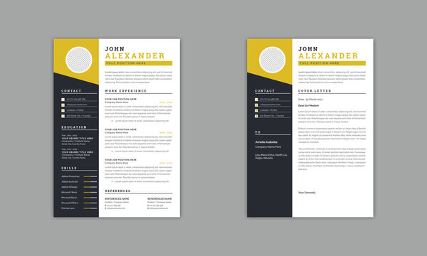 Minimal Resume Layout with Yellow Vector Design