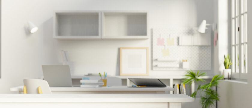 Minimal white workspace with office supplies and copy space