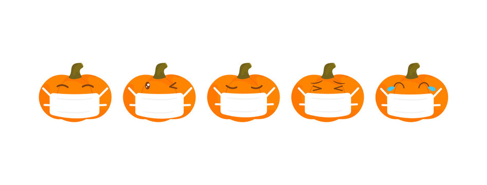 Vector emoji pumpkin halloween collection with different reactions for social media. Cute flat face isolated on white background. Modern emoticons face mask