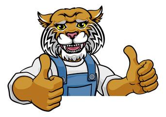 Obraz Wildcat Mascot Plumber Mechanic Handyman Worker - fototapety do salonu