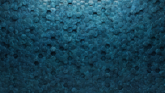 Blue Patina, Polished Mosaic Tiles arranged in the shape of a wall. 3D, Hexagonal, Bricks stacked to create a Glazed block background. 3D Render