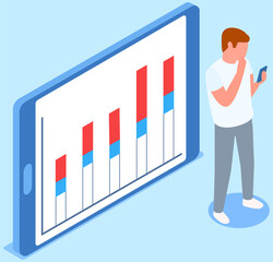 Visualize with business analytics. People work with statistical data analysis, changing indicators. Employees analyze statistical indicators, business data. Characters work with marketing research