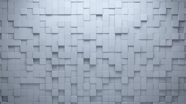 Polished, Square Mosaic Tiles arranged in the shape of a wall. White, Semigloss, Bricks stacked to create a 3D block background. 3D Render