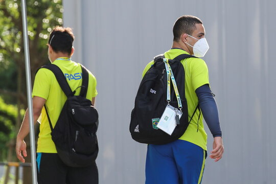 Brazilian judo athletes arrive for a training session at a gymnasium, in Hamamatsu
