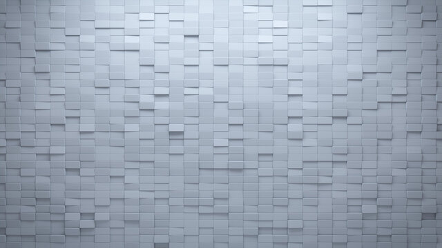 Polished, Semigloss Mosaic Tiles arranged in the shape of a wall. White, 3D, Bricks stacked to create a Rectangular block background. 3D Render