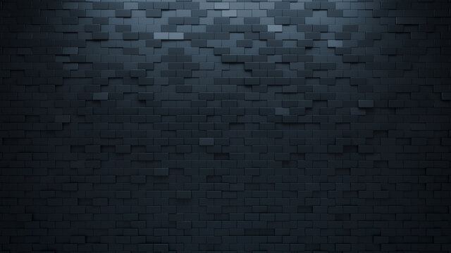 3D, Polished Mosaic Tiles arranged in the shape of a wall. Semigloss, Black, Bricks stacked to create a Rectangular block background. 3D Render