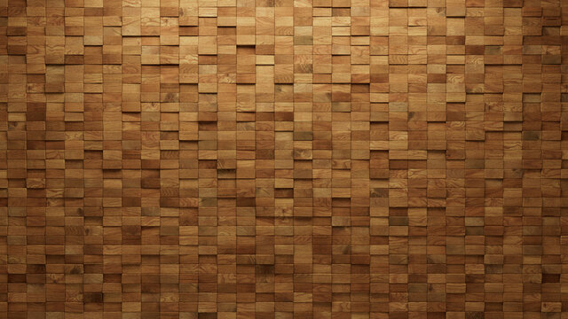 Soft sheen, Rectangular Mosaic Tiles arranged in the shape of a wall. Wood, 3D, Blocks stacked to create a Timber block background. 3D Render