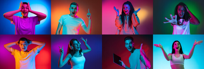 Portrait of group of people on multicolored background in neon light, collage. Surprised, shocked