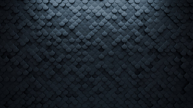 Polished, Fish Scale Mosaic Tiles arranged in the shape of a wall. Semigloss, Black, Bricks stacked to create a 3D block background. 3D Render